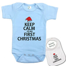 """ Keep Calm its my first Christmas ""Cute Baby bodysuit onesie & Matching Bib set"