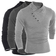Mens T-Shirt Solid Long Sleeve Tee Casual Tops Slim V-Neck Pretty and wonderful