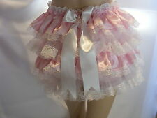 SISSY ADULT BABY PINK SATIN LACE DIAPER COVER PANTIES WATERPROOF OPTION