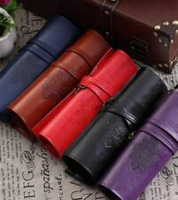 Retro Roll PU Leather Makeup Cosmetic Pouch Pen Pencil Brush Bag Case Container