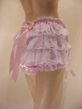 SISSY ADULT BABY SATIN LACE PEEPHOLE OPEN FRONT RUFFLE BUM PANTIES DIAPER COVER
