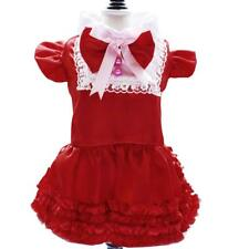 Pet Dog Cute Maid Dress Satin Bowknot Lace Collar Clothes Skirt Size S/M/L/XL