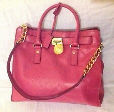 Genuine Michael Kors Pink Pure Leather Ostrich Stylish Large Handbags