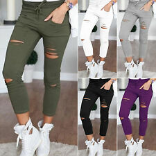 Womens Stretchy Faded Ripped Slim Skinny Jeggings Trousers Casual Pencil Pants