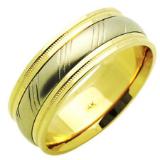 Men's 14K Two tone Gold 7mm Two Layered Wedding Band Plain Ring / Gift Box