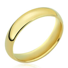 Men's 14K Yellow Gold 4mm Classic Domed Plain Wedding Band Ring / Gift Box