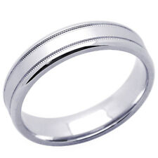 Men's 14K White Gold 5mm milgrain Edged Wedding Band Plain Ring / Gift Box