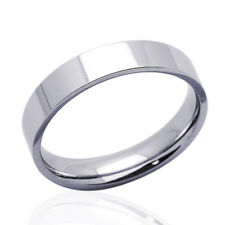 Men's 14K White Gold 5mm Plain Flat Wedding Band Right Hand Ring / Gift Box