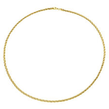 Women 14K Gold Plated 3mm Silver Layer Twisted Omega Spring Chain made in italy