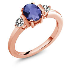 0.85 Ct Oval Checkerboard Blue Iolite White Diamond 18K Rose Gold Ring