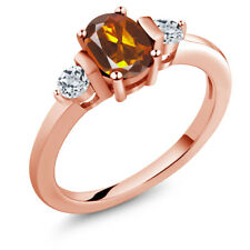 0.98 Ct Orange Red Madeira Citrine White Topaz 18K Rose Gold Plated Silver Ring