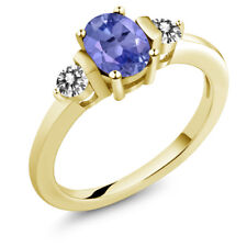 0.95 Ct Oval Blue Tanzanite White Diamond 18K Yellow Gold Plated Silver Ring