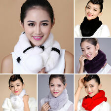 Women Real Rabbit Fur Scarves Shawls Collar Wraps Scarf Wrap Furry Neck Stole