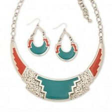 Turquoise/coral Aztec Collar Necklace & Pierced Earring Set