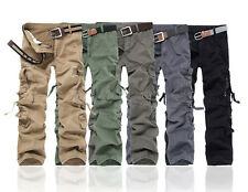 MENS CASUAL MILITARY ARMY GREEN CAMO CARGO PANTS COMBAT CARGO PANTS 6 COLORS