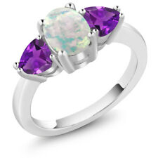 1.85 Ct Oval Cabochon White Simulated Opal Purple Amethyst 14K White Gold Ring