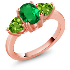 1.96 Ct Green Simulated Emerald Green Peridot 18K Rose Gold Plated Silver Ring