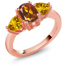 1.92 Ct Madeira Citrine and Yellow Citrine 18K Rose Gold Plated Silver Ring