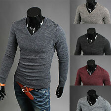 Mens Fashion V-neck Slim Fit Long Sleeve Knit Cardigan Pullover  Sweater Jumper