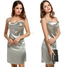 Women Sexy Backless Cowl Neck Shining Color Spaghetti Straps Party Mini Dress