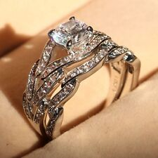 2ct Topaz Diamonique Cz 10KT White Gold Filled Wedding Bridal Ring Set Sz 5-11