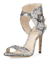 Sam Edelman Shoes Snake Embossed Leather Silver Metallic Ankle Sandals Pumps NEW