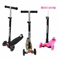 50KG 3 wheel Kids Push Kick Scooter Kickboad Flashing Lights Birthday Xmas Gift