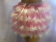 SISSY ADULT BABY PINK RUFFLE ALLROUND DIAPER COVER PANTIES WATERPROOF OPTION