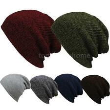 Beanie Hat Mens Ladies Knitted Wooly Winter Oversized Slouch Beanie Hat Cap V8J0