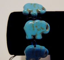 Leather Bracelet With Triple Stone Elephants assorted Colors New