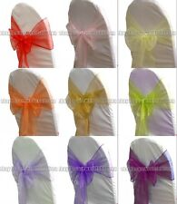 Bow Chair Cover Organza Party Chair Decor Reception Banquet Decorate
