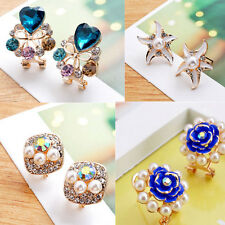 1 pair Ear Stud Flower Rhinestone Lady Elegant Women New Girls Earrings Crystal