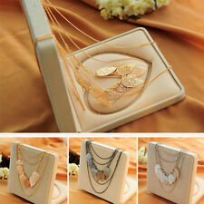 New Women Multi-layer Necklace Bohemia Leaf Pendant Long Sweater Chain Charming