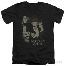 The Munsters - American Gothic V-Neck Apparel T-Shirt - Black