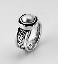 Vintage Silver Ring With Pearl White 8mm Round Cabs Size 5 6 7 8 9