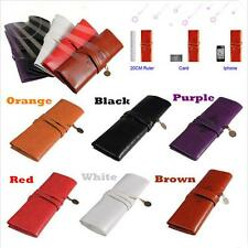 Roll Cosmetic Purse Bag Make Up Leather Pen Pencil Case Pouch