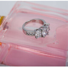 Wedding Bride 18K Gold Platinum Plated Cubic Zirconia Ring Engagement US Jewelry