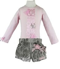 Little Darlings Romany Pink/Grey L/S T-Shirt & Shorts Set sizes 2yrs to 6yrs
