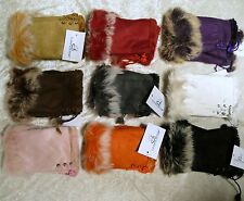 New Winter Fingerless Faux Leather Gloves Hand Wrist W/Warm Rabbit Fur