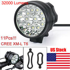 32000LM 11x CREE XM-L T6 LED 8x 18650 Bicycle Cycling Head Light Waterproof Lamp