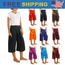 Women Thai Fisherman Pants Toray Rayon Yoga Trousers Wrap Around Freesize Short