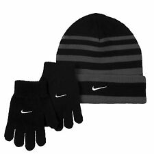 Nike Kids Teen Winter Striped Gloves & Beanie Hat Set