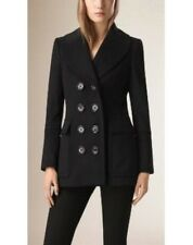 Burberry coat jacket wool black SIZE 8 Wool Cashmere Pea Coat Short