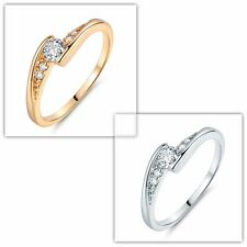 White Diamond-cut Women's Wedding Rings Jewelry 18K Gold/White Gold Filled Sz5-9