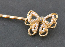 Bow Hairpin NEW Crystal Pearl 2016 Barrette Flower Women 2Pc Hair Rhinestone