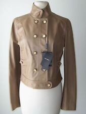 DOLCE & GABBANA Tan Lambskin Leather Military Jacket Coat  42  6 or 44  8