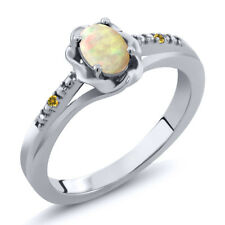 0.34 Ct Cabochon White Ethiopian Opal Yellow Simulated Citrine 925 Silver Ring