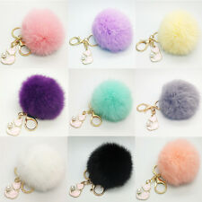Real Rabbit Fur Key Chain Bag Charm Puff Ball Key Ring With Cat Pendant HOT