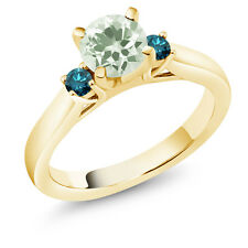 1.15 Ct Round Green Amethyst Blue Diamond 18K Yellow Gold 3-Stone Ring