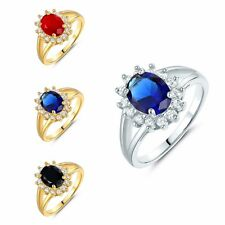 Sz 5-9 Oval Blue Sapphire Red Ruby Wedding Ring Jewelry White/Yellow Gold Filled